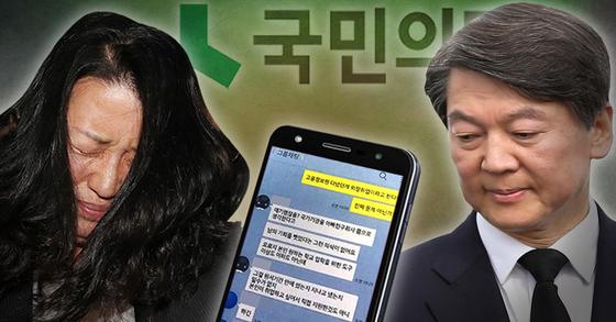 제보 보작 혐의를 받는 이유미 당원(왼쪽)과 안철수 전 국민의당 대표. [연합뉴스]