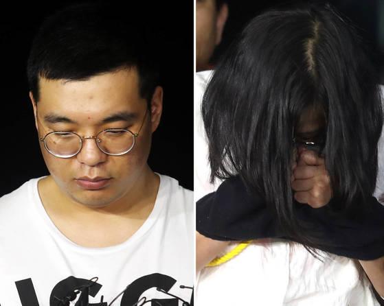 지난 3일 오후 경남 창원서부경찰서로 압송된 심천우(31)와 강정임(36). [사진 연합뉴스]