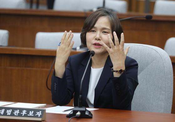 박정화 대법관 후보자가 4일 국회에서 열린 인사청문회에서 답변하고 있다. [연합뉴스]