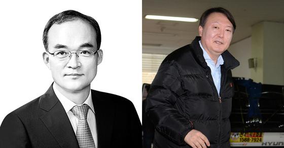 문무일 검찰총장 후보자(왼쪽)와 윤석열 서울중앙지검장 [중앙포토]