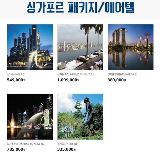 G마켓에서 내놓은 다양한 싱가포르 패키지여행 상품. [사진 G마켓]