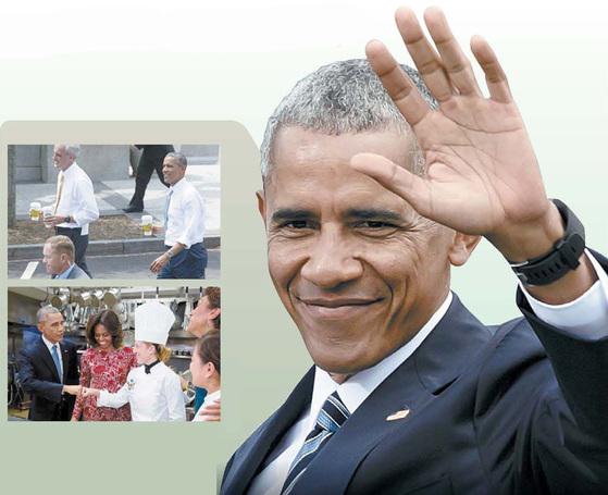버락 오바마 전 미국 대통령이 2014년 커피를 들고 참모들과 산책하고(위쪽), 백악관 식당에서 셰프와 주먹을 맞대며 인사하던 모습. [백악관 홈페이지]