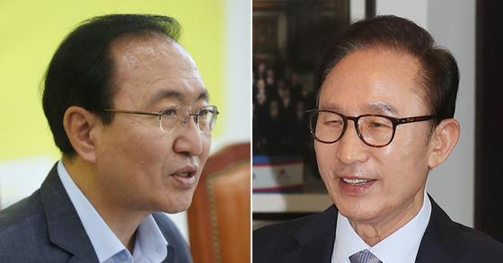 노회찬 정의당 원내대표(왼쪽)와 이명박 전 대통령. [연합뉴스]