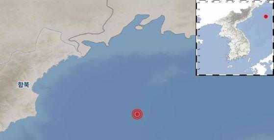 기상청은 13일 오전 4시 48분 북한 함경북도 나진으로부터 남동쪽 194km 떨어진 동해상에서 규모 6.3의 지진이 발생했다고 전했다. [사진 기상청 홈페이지]