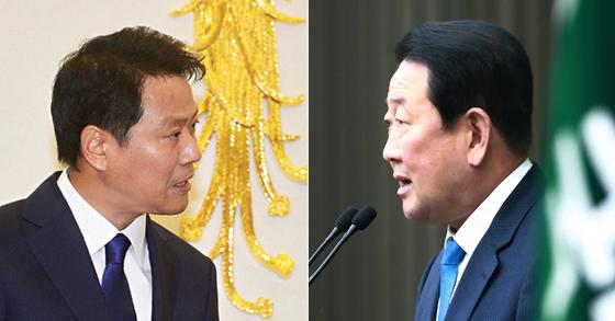 임종석 청와대 대통령 비서실장(왼쪽)과 박주선 국민의당 비상대책위원장. [중앙포토]