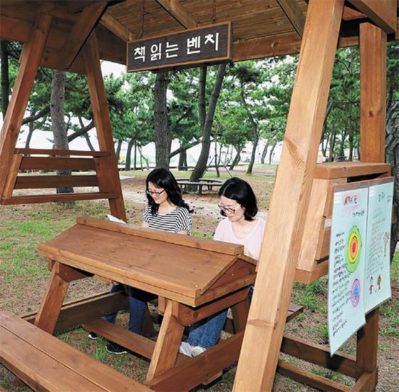 강릉시 경포 해변에 생긴 해변 도서관에서 피서객이 책을 읽고 있다. [사진 강릉시]