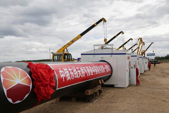 2015년 6월 중-러 가스파이프라인 중국 지역 가스관 공사가 시작됐다. [EPA=연합뉴스]
