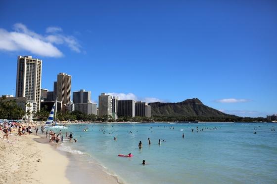 하와이 상징 와이키키 해변