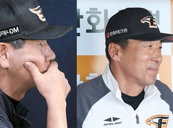 김성근(왼쪽) 한화 전 감독과 이상군 감독대행.