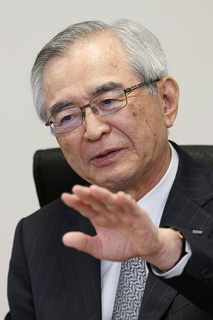 지지통신과 인터뷰중인 가와무라 다카시 도쿄전력 홀딩스 회장 [지지통신 홈페이지 캡쳐]