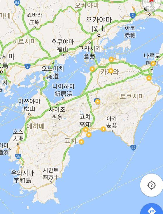 시코쿠. 가가와·도쿠시마·고치·에히메 4개 현으로 이뤄져 있다.