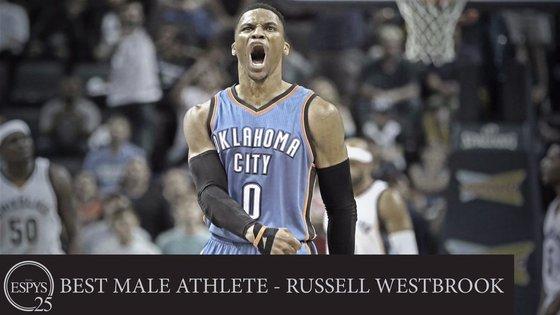 ESPN 올해의 남자 선수상을 수상한 러셀 웨스트브룩. [사진 ESPN 트위터]