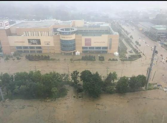 16일 오전 충북 청주에 시간당 90㎜가 넘는 폭우가 쏟아지면서청주시 흥덕구 롯데아울렛 인근 도로가 물에 잠겼다. [사진 독자제공]