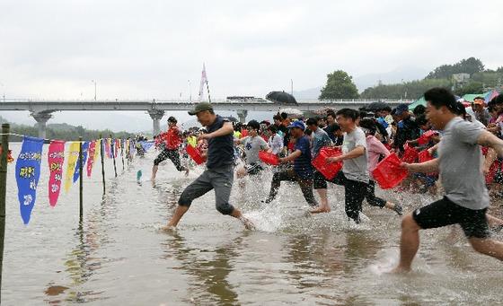 지난해 열린 재첩축제에서 축제 참가객들이 섬진강에서 황금 재첩을 찾기 위해 일제히 달려나가고 있다. [사진 하동군]