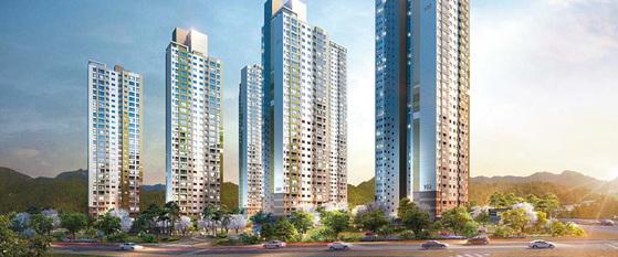 천안시의 새로운 스카이라인을 형성한 최대 39층 규모의 천안 레이크타운 푸르지오 조감도.