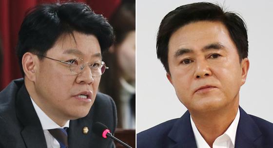 한국당 장제원 의원(왼쪽)과 김태흠 최고위원. [중앙포토]