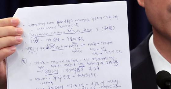 청와대 캐비닛에서 발견된 문건. [연합뉴스]