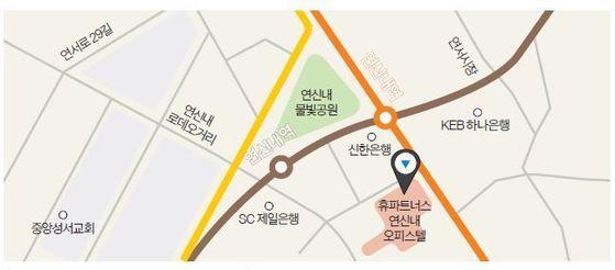 휴 파트너스가 서울 대조동에 선보일 연신내 오피스텔 위치도.