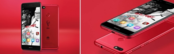 KFC가 중국 진출 30주년을 기념해 화웨이와 손잡고 한정판 스마트폰을 공개했다. 한정판 'KFC 화웨이 7 플러스'는 선명한 빨간색으로 KFC 마스코트, 커넬 샌더스 로고가 새겨져 있고, 가격은 한국 돈으로 19만원 정도다. [사진 화웨이]