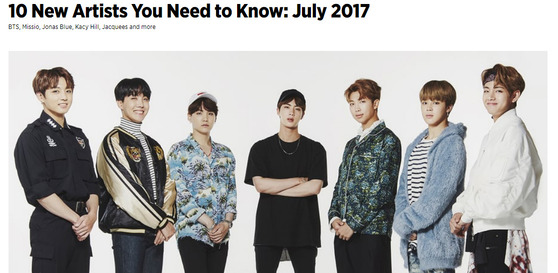 롤링스톤이 21일(현지시간) 선정한 '2017년 7월 꼭 알아야 할 뉴아티스트 10'에 방탄소년단이 첫번째로 이름을 올렸다. [사진 롤링스톤 홉페이지 ]