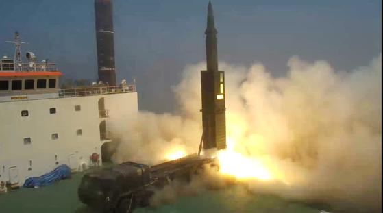 현무-2C 미사일 발사 장면. [서울=연합뉴스]