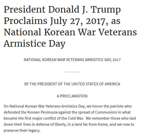 도널드 트럼프 미국 대통령이 27일을 한국전 참전용사 정전협정의 날로 선포하는 발표문[백악관 홈페이지 캡쳐]
