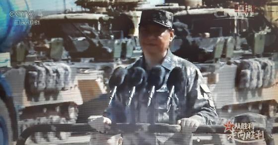 30일 오전 중국 인민해방군 창설 90주년 기념 열병식에서 시진핑 중국 국가주석이 군복을 입고 열병식에 참석했다. [CCTV 생방송 화면 캡처]