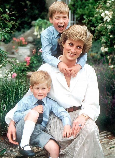 생전 사랑하는 두 아들 윌리엄 왕세손(위), 해리왕자와 함께한 다이애나. [중앙포토]