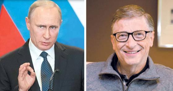 왼쪽부터 블라디미르 푸틴 러시아 대통령, 빌 게이츠 마이크러소프트(MS) 창업자.