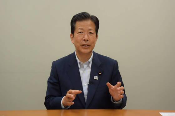 지난 2일 도쿄도 의회 선거에서 출마 후보 전원 당선을 이끈 야마구치 공명당 대표. [오영환 특파원]