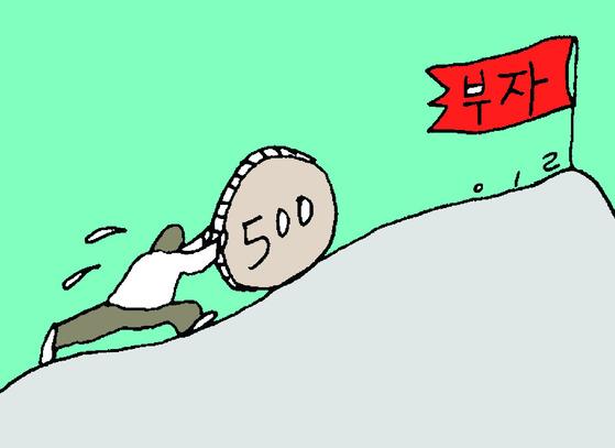 부동산으로 일어선 한국 부자들. 부동산에 대한 신뢰와 애착을 가지고 있다. [ 일러스트=강일구 ]