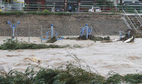 지난달 31일 경기도 안성지역에 폭우가 쏟아지면서안성천 주변 운동기구가 불어난 물에 잠겨 있다. [연합뉴스]