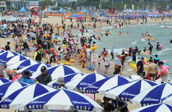 부산지방에 폭염주의보가 내려진 16일 오후 부산 해운대해수욕장을 찾은 많은 시민과 관광객들이 물놀이를 하며 더위를 식히고 있다. 송봉근기자