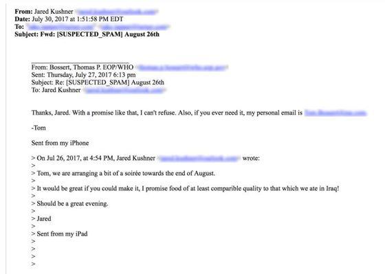 '이메일 장난꾸러기'가 트럼프 대통령의 사위 재러드 쿠슈너의 명의로 백악관 국토안보 보좌관에게 보낸 메일. [CNN 캡처]