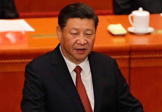 1일 중국 인민해방군 건군 90주년 기념식에서 연설 중인 시진핑 중국 국가주석. [AFP=연합뉴스]