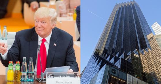 왼쪽부터 도널드 트럼프 미국 대통령, 트럼프 타워(뉴욕)
