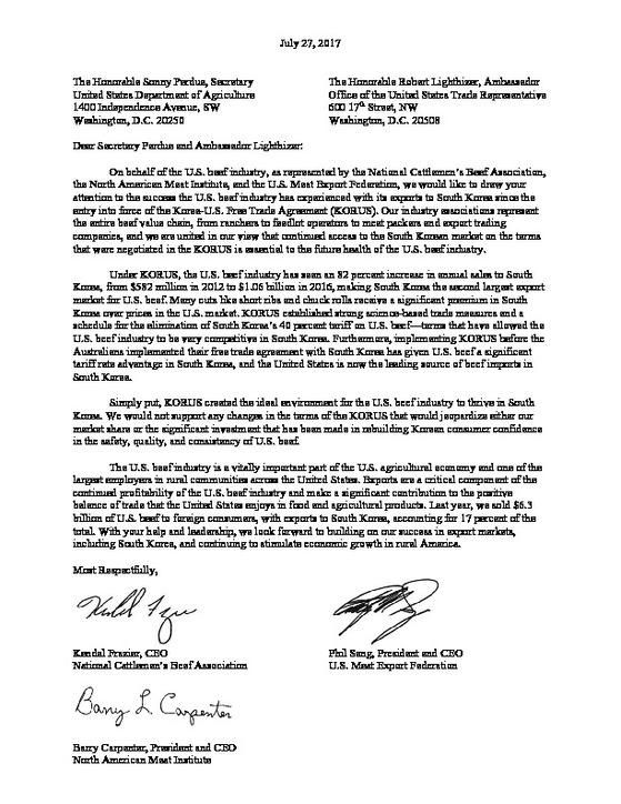 미국 축산업, 쇠고기 관련 단체들이 미 무역대표부(USTR) 라이트하이저 대표와 소니 퍼듀 농무장관 앞으로 보낸 서한. 한미 FTA의 근간을 흔들지 말 것을 촉구하는 내용이다.