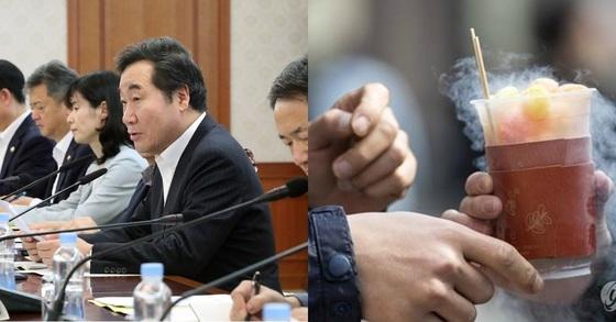 이낙연 국무총리(왼쪽)와 용가리과자. [연합뉴스]