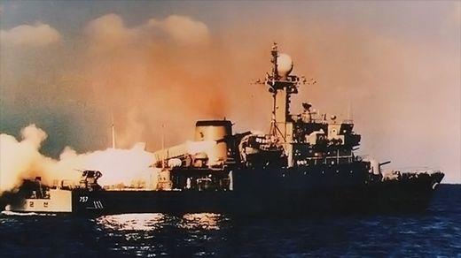 엑조세를 발사하는 PCC-757 군산함. A300 구매와 함께 도입한 엑조세는 한국 해군이 보유했던 최초의 함대함 미사일이다. [사진 해군]