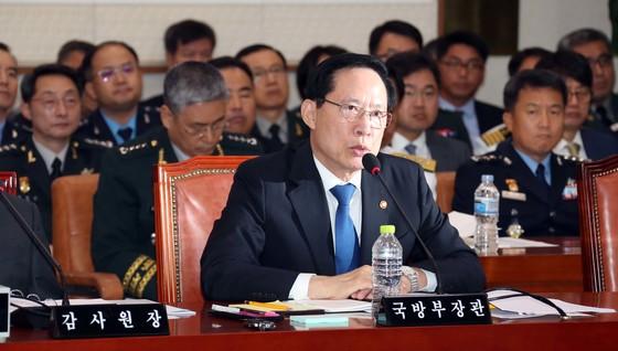 송영무 국방장관이 20일 국회 법제사법위원회 전체회의에서 발언하고 있다. 변선구 기자