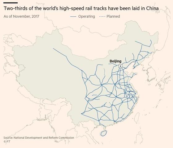 거미줄처럼 연결된 중국의 고속철망. 서북쪽 나홀로 노선이 우루무치~란저우 지선이다.[사진=FT 캡처]