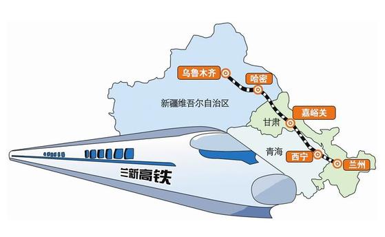 우루무치~란저우 노선. 우루무치-하미-자위관-시닝-란저우 구간의 정차역 지도. [사진=xd56b닷컴]