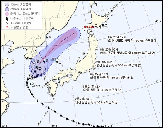 오전 6시 기준 제 19호 태풍 솔릭의 예상진행경로. [자료 기상청]