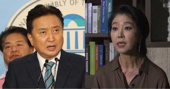 김영환 바른미래당 당대표 후보(왼쪽)와 배우 김부선 [연합뉴스, KBS1]