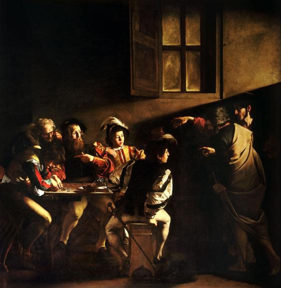 예수의 부름을 받은 마태오. <성 마테오의 소명(The Calling of St Matthew) 1599-1600> 미켈란젤로 메리시 다 카라바조(Michelangelo Merisi da Caravaggio), 산 루이지 데이 프란체시 성당(이탈리아) ⓒpublic domain(공개도메인) [출처 wikipedia]