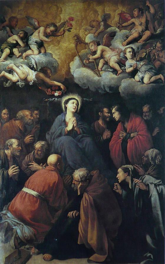 성모의 죽음. 카를로 사라체니의 작품이다. 산타마리아 델라 스칼라 교회는 카라바조의 그림을 거절하고 카를로 사라체니의 작품을 선택했다.<성모의 죽음(Mort de la Vierge) 1606> 카를로 사라체니(Carlo Saraceni), 로마(이탈리아) ⓒpublic domain(공개도메인) [출처 wikipedia]