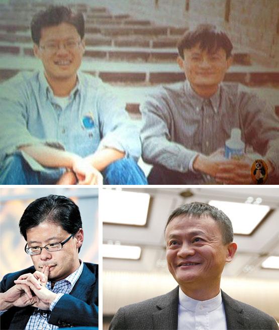 상단의 사진은 1997년 만리장성에서 찍은 제리양(좌)과 마윈(우)의 사진이다. 그 당시 마윈은 제리양의 중국 관광 일정을 담당했다. 하단은 현재 두 사람의 모습. [중앙포토]
