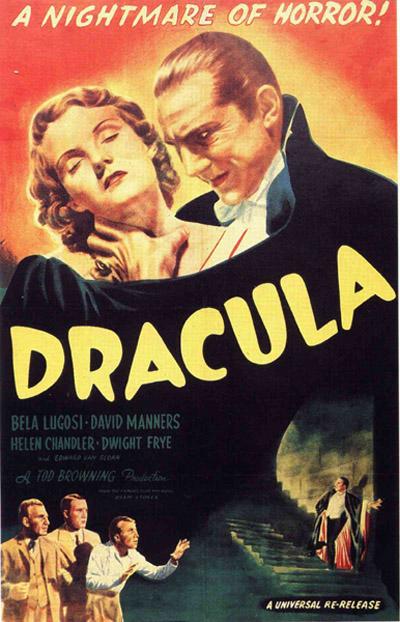 1931년 영화 '드라큘라' 포스터, 우리가 흔히 아는 흡혈귀의 모습은 이 작품에서 많은 영향을 받았다.