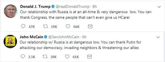"""지난해 8월 트럼프 대통령이 트위터를 통해 """"러시아와의 관계가 매우 위험한 사상 최저수준이다. 여러분은 의회에 감사할 수도 있다. 하지만 그들은 우리에게 건강보험조차 줄 수 없는 사람들""""이라며 러시아 제재 법안을 의결한 미 의회를 비난했다. 그러자 매케인 상원의원은 이를 패러디해 """"러시아와의 관계가 위험한 최저수준이다. 여러분들은 우리 민주주의를 공격하고, 주변국을 침략하고, 우리 동맹국들을 위협하는 푸틴에 감사할 수도 있다""""고 트럼프를 비꼬았다."""