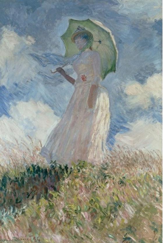 인상주의는 빛의 변화가 남긴 인상을 묘사하는 것을 중시한 사조이다. 인상주의의 대표적 화가 클로드 모네의 그림. <파라솔을 든 여인(Woman with a Parasol Liles) 1875> 클로드 모네; 인상파, 내셔널 갤러리 오브 아트(미국, 워싱턴 DC), Oil paint, 1 m x 82 cm [ⓒ Public domain 출처 wiki arts]